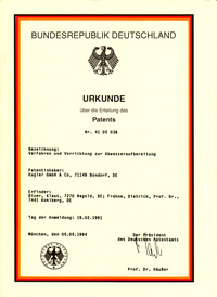 Patent von 1994 - Spezialist für Konzepte für die Fest-Flüssig-Trennung